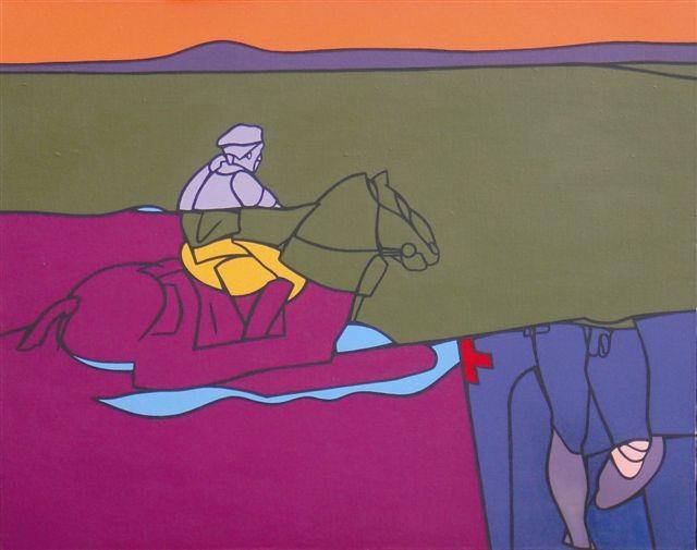 Adami, il paesaggio du Tolstoi -acryl s.toile 1976-77