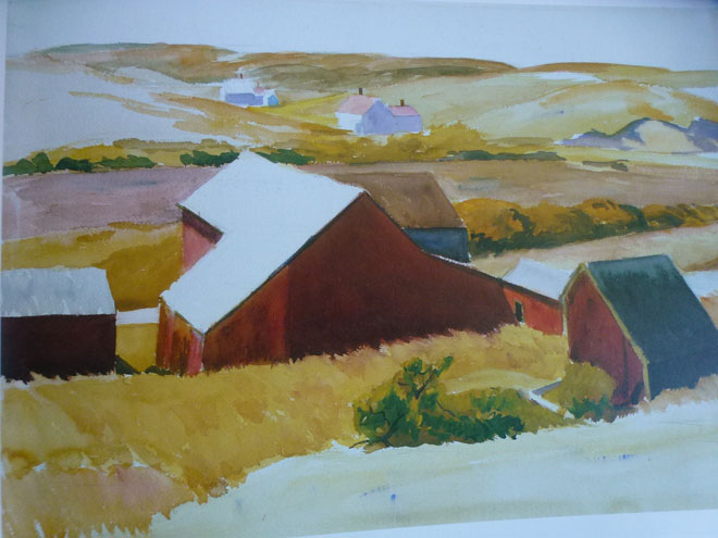 Cobb's barns and distant houses, 1931 aquarelle et crayon sur papier